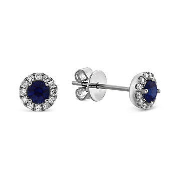 14K White Gold Sapphire and Round Diamond Halo Earrings