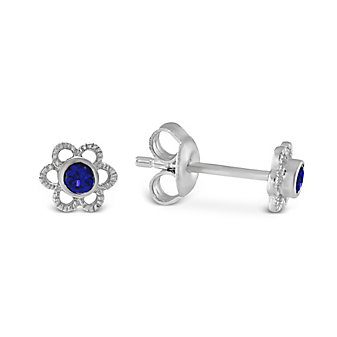 Sterling Silver Child's Synthetic Sapphire Flower Earrings