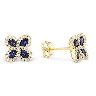 14K Yellow Gold Oval Sapphire & Diamond Flower Earrings