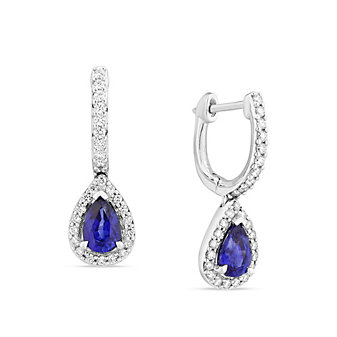 14K White Gold Pear Shaped Sapphire & Diamond Halo Drop Earrings