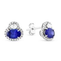 14K_White_Gold_Oval_Sapphire_&_Diamond_Earrings