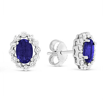 14K White Gold Oval Sapphire and Round Diamond Earrings