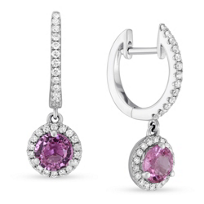 18K_White_Gold_Pink_Sapphire_&_Diamond_Halo_Drop_Earrings________