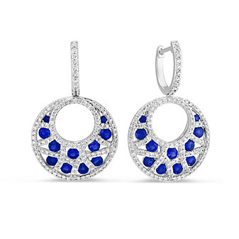 14K White Gold Sapphire and Diamond Crescent Drop Earrings