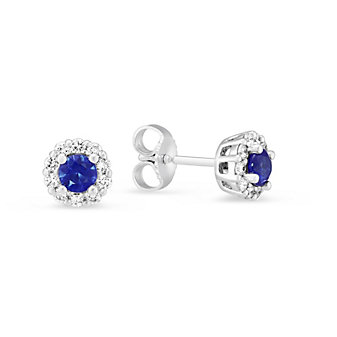 14K White Gold Sapphire and Diamond Cluster Post Earrings