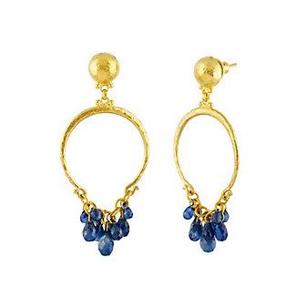 Gurhan 24K Yellow Gold Sapphire Briolette Dangle Earrings