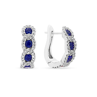14k white gold sapphire & diamond chain hoop earrings