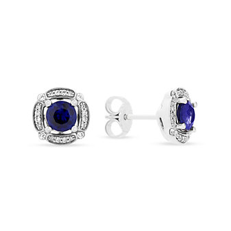 14k white gold sapphire & diamond frame post earrings