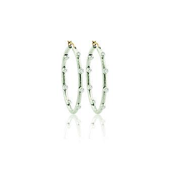 lika behar sterling silver white sapphire station large hoop earrings