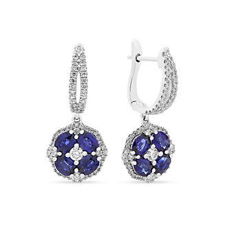 14k white gold sapphire & diamond flower drop earrings