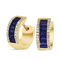 14k_yellow_gold_pave_diamond_and_baguette_sapphire_petite_huggy_hoop_earrings