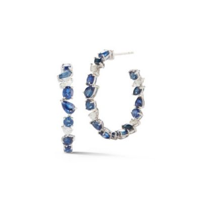 18k white gold multi shape diamond & sapphire inside out hoop earrings