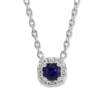 "14k_white_gold_round_sapphire_&_diamond_halo_necklace,_18"""