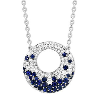14K White Gold Sapphire and Diamond Circle Necklace