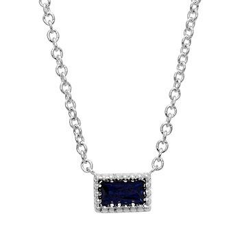 14K White Gold Baguette Sapphire Necklace