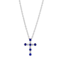 """14K_White_Gold_Sapphire_and_Diamond_Cross_Necklace,_18"""""""