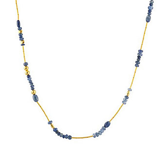 Gurhan 24K Yellow Gold Sapphire Bead Briolette Necklace, 18""