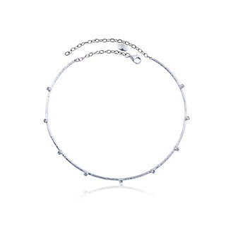 lika behar sterling silver white sapphire station choker necklace