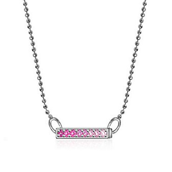 "ALEX WOO ELEMENTS BAR NECKLACE 16"" - PINK SAPPHIRE"