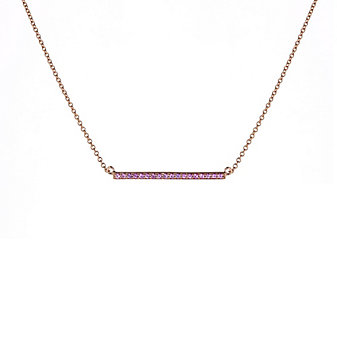 14k rose gold pink sapphire bar necklace, 16""