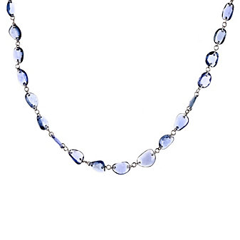 """18k white gold sapphire bead necklace, 18"""""""