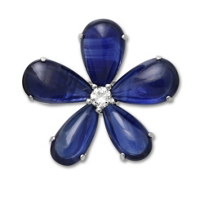 14K_White_Gold_Cabochon_Sapphire_and_Round_Diamond_Flower_Pin