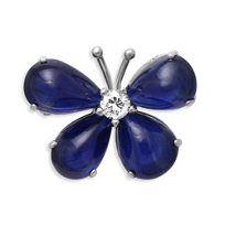 14K_White_Gold_Cabochon_Sapphire_and_Round_Diamond_Butterfly_Pin