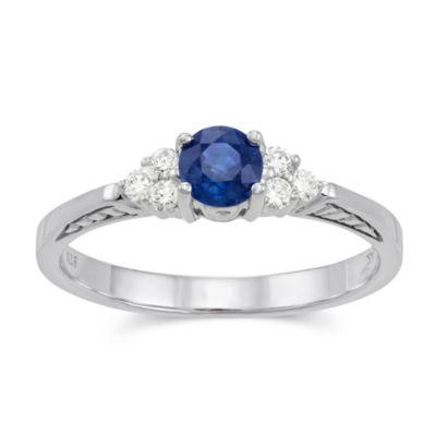 14K White Gold Round Sapphire and Round Diamond Ring