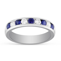 14K_White_Gold_Channel_Set_Round_Sapphire_and_Round_Diamond_Ring