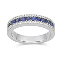 18K_White_Gold_Round_Sapphire_and_Round_Diamond_Three_Row_Ring