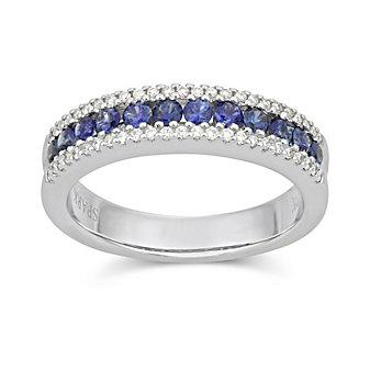 18K White Gold Round Sapphire and Round Diamond Three Row Ring