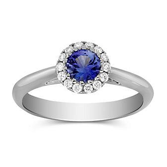 14K White Gold Sapphire and Round Diamond Ring