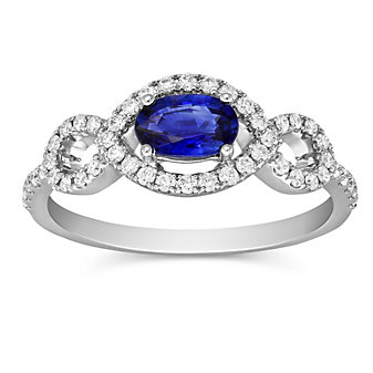 14K White Gold Oval Sapphire and Round Diamond Ring
