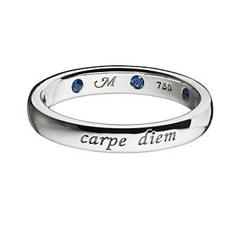 Monica Rich Kosann 18K White Gold Sapphire Carpe Diem Poesy Ring Pendant