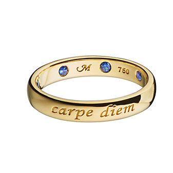 Monica Rich Kosann 18K Yellow Gold Sapphire Carpe Diem Poesy Ring Pendant
