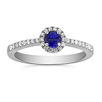 14K White Gold Sapphire and Round Diamond Halo Ring