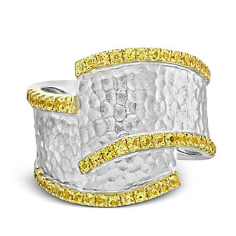 14K Yellow and White Gold Yellow Sapphire Overlapping Wide Ring