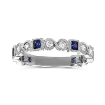 14K White Gold Princess Sapphire and Round Diamond Ring