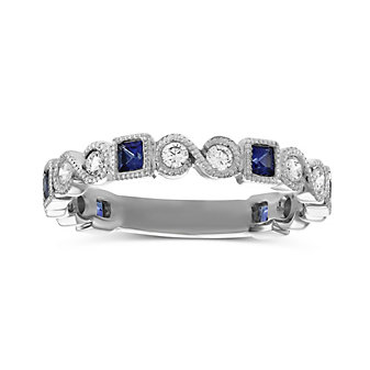 14K White Gold Princess Sapphire and Round Diamond Ring