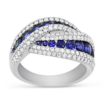 14K White Gold Round Sapphire & Diamond Crossover Ring