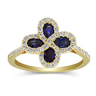 14K Yellow Gold Oval Sapphire & Diamond Flower Ring