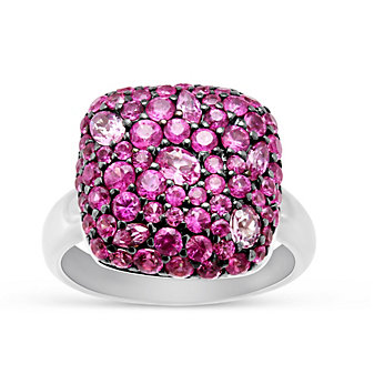 Sterling Silver Multi Shape Pink Sapphire Ring