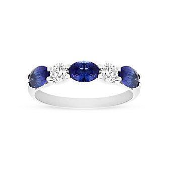 14K White Gold Oval Sapphire and Diamond Alternating Ring