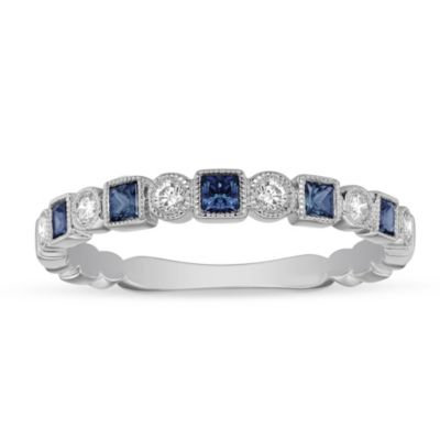 14K White Gold Princess Cut Sapphire and Diamond Geometric Ring