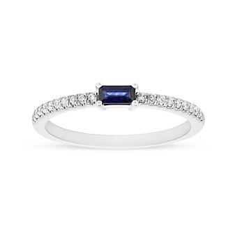 14K White Gold Baguette Sapphire & Diamond Ring
