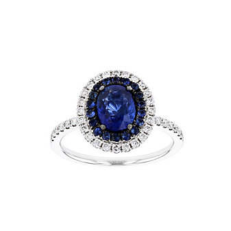 18k white gold black rhodium sapphire & diamond double halo ring