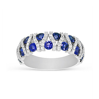 14K White Gold Sapphire and Diamond Bar Ring