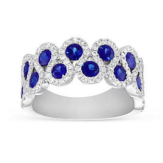 14K White Gold Sapphire and Diamond S-Curve Ring