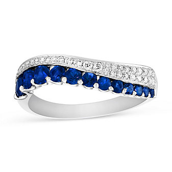 14K White Gold Sapphire and Diamond Wave Ring