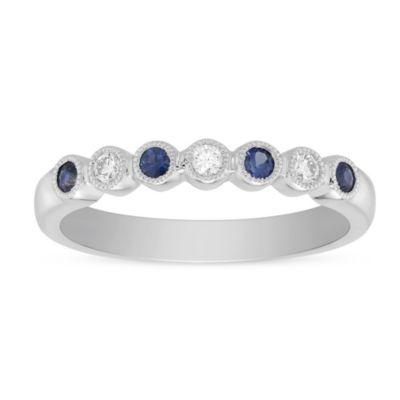 14K White Gold Round Sapphire &  Diamond Bezel Set Milgrain Ring